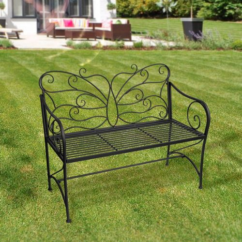 Black Metal Butterfly Garden Bench - Black Ornate Wroght Metal Butterfly Bench